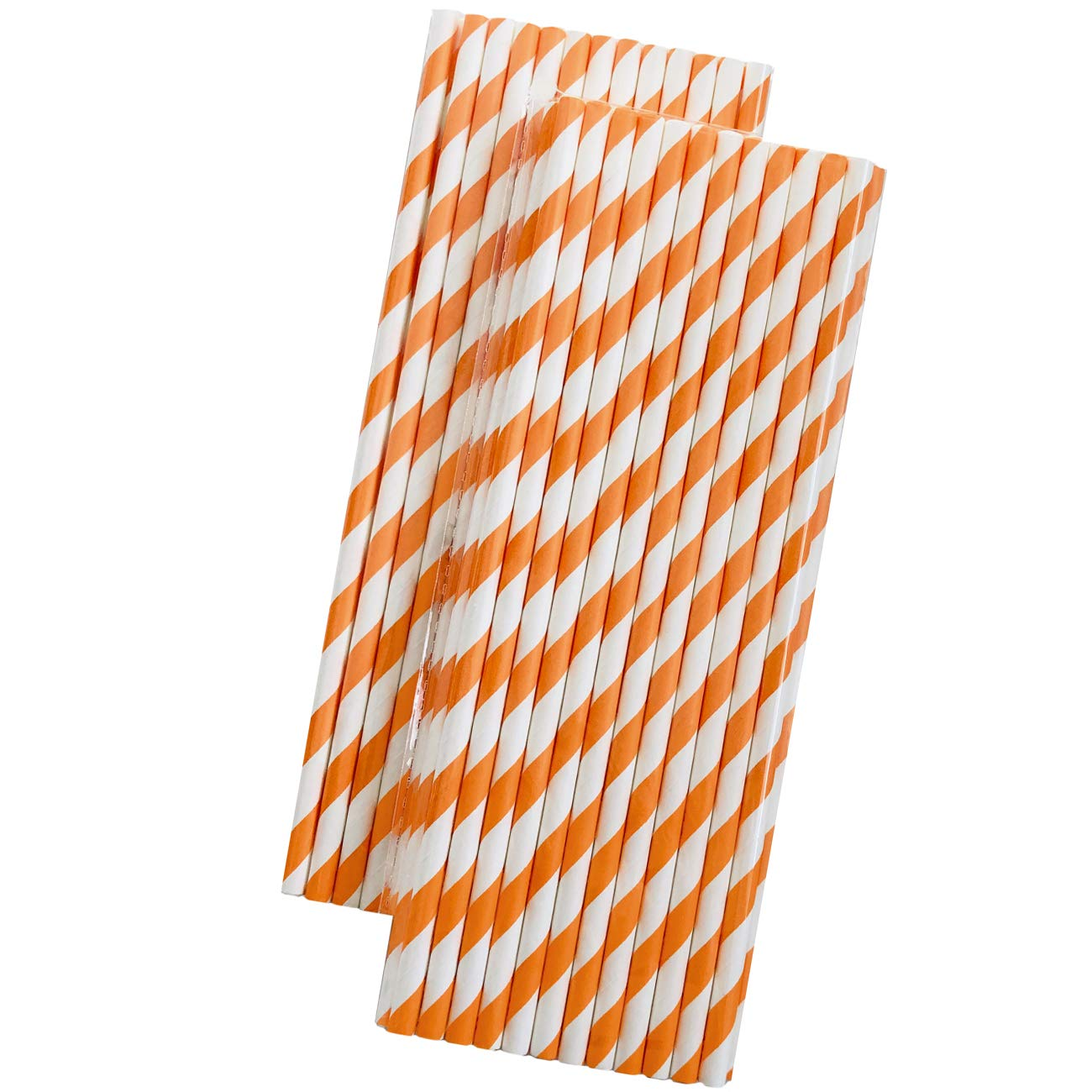 Outside the Box Papers Brand 7.75 Inches Striped Paper Straws Orange and White 50 Pack