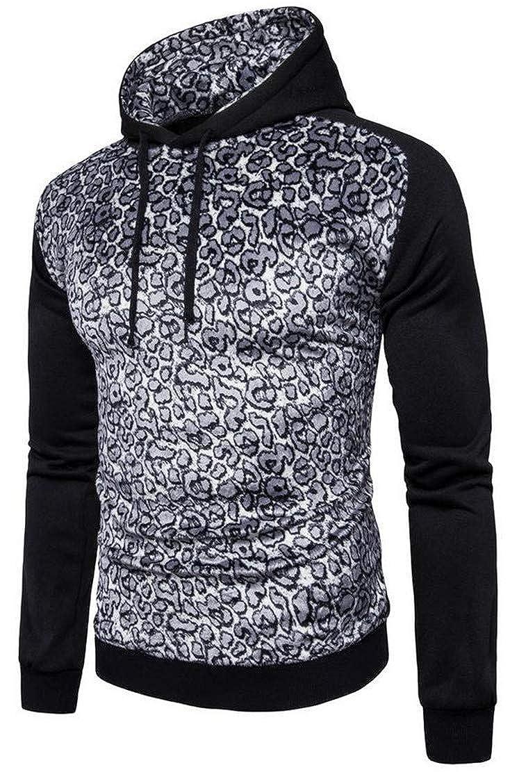 Cromoncent Men Leopard Floral Print Raglan Sleeve Drawstring Casual Top Hooded Sweatshirts