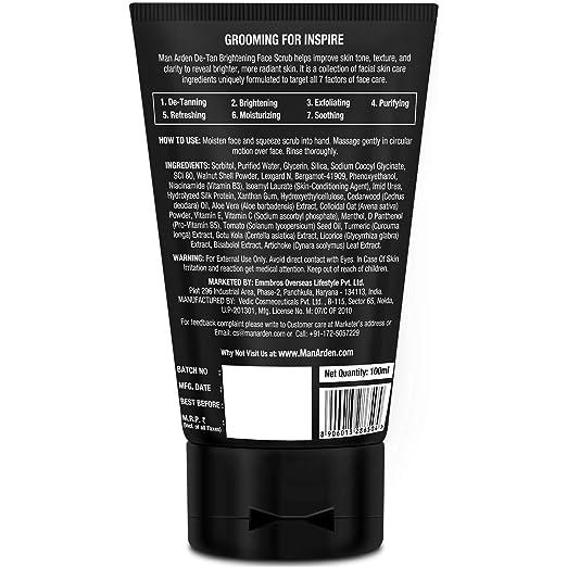 4e8d96e618 Buy Man Arden De Tan Brightening Face Scrub 100ml - De-Tans   Exfoliates  Skin - With Vitamin C Online at Low Prices in India - Amazon.in