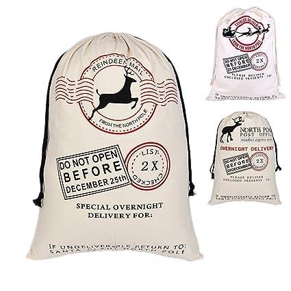 df077c8242 Amazon.com: Santa Sack Bag Large Christmas Gift Bag Drawstring Personalized  Reindeer Pattern Cotton Burlap Sack Canvas Bags for Kids 27