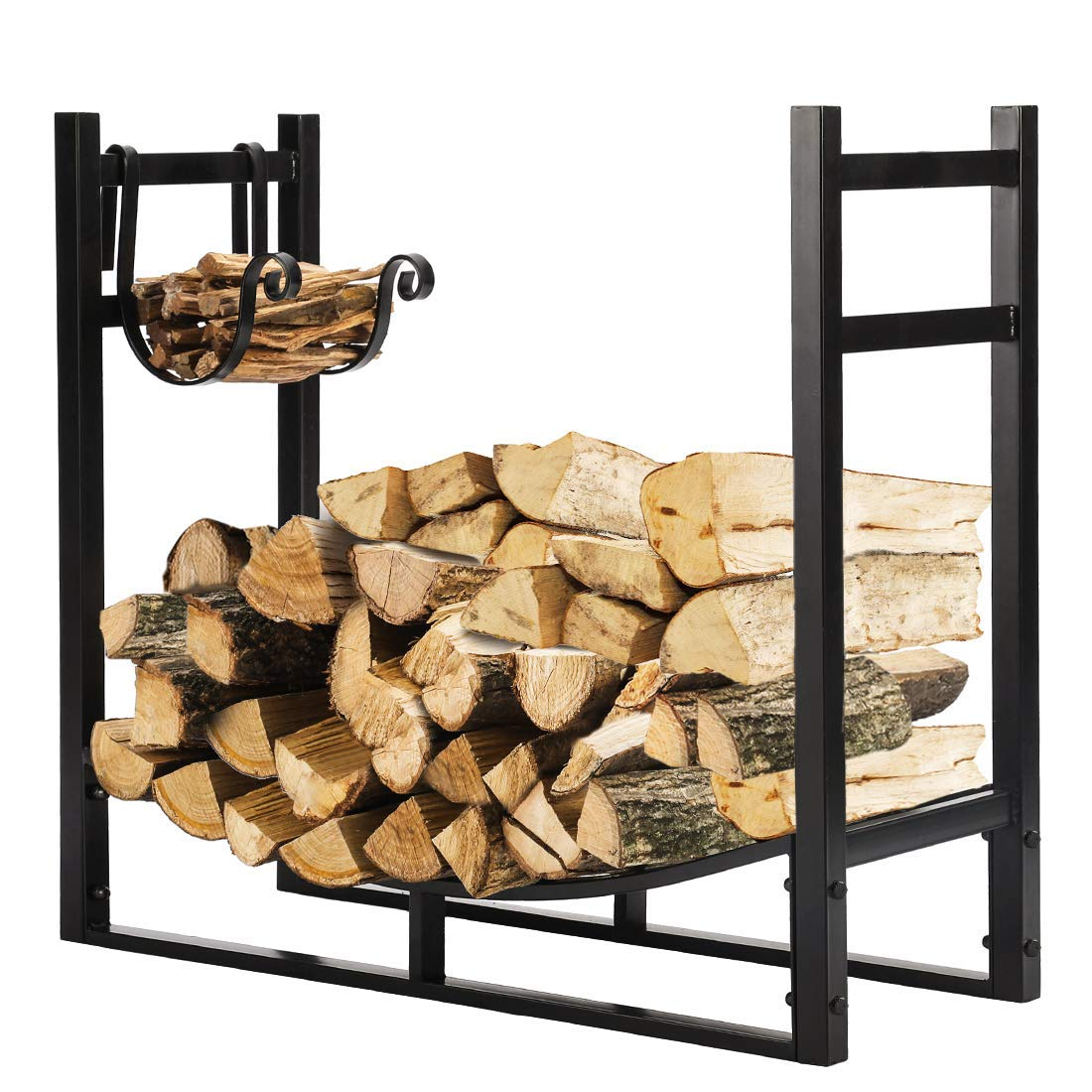 VIVOHOME 3ft Heavy Duty Indoor Outdoor Firewood Storage Log Rack with Kindling Holder by VIVOHOME