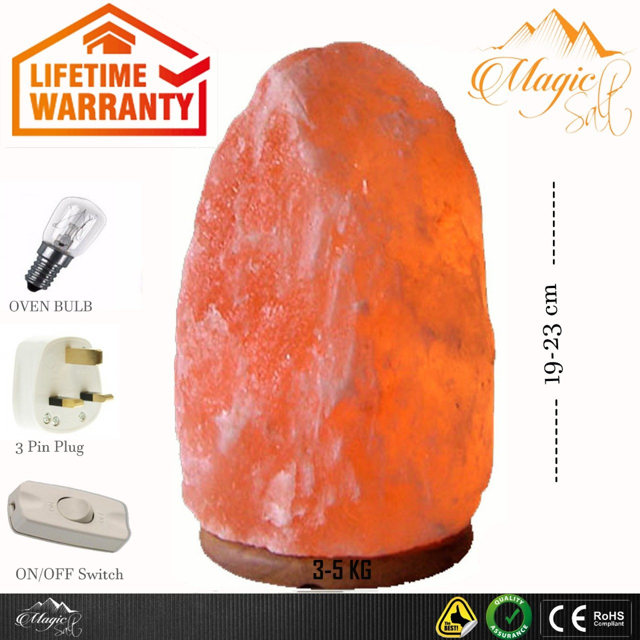 BY Magic Salt Himalayan crystal pink rock salt lamp weight 3-5 kg height 21-23 cm - with all electric fittings CE certified UK standard 3 pin cable and e14 oven bulb, polished wood base -Premium Quality Fine salt Crystals directly comes from Himalayan M