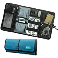 ProCase Roll-up Electronics Organizer, Universal Accessories Travel Case, Cable Management Carry Bag, Healthcare Kit Travel Kit and Cosmetics Bag (Teal)