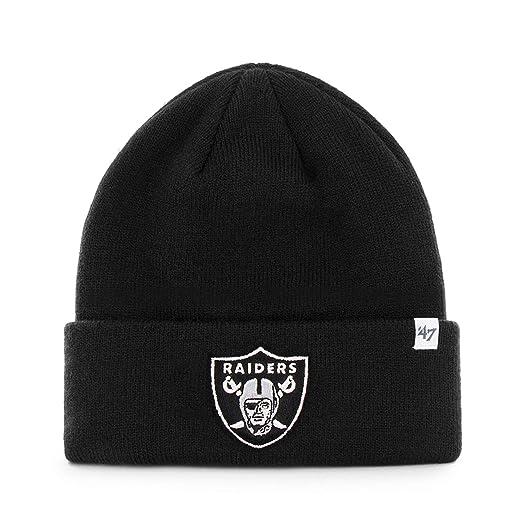 2257ffcd5b118f Amazon.com : 47 Brand Oakland Raiders Black Basic Raised Cuffed Sport Field  Winter Stocking Beanie NFL : Clothing