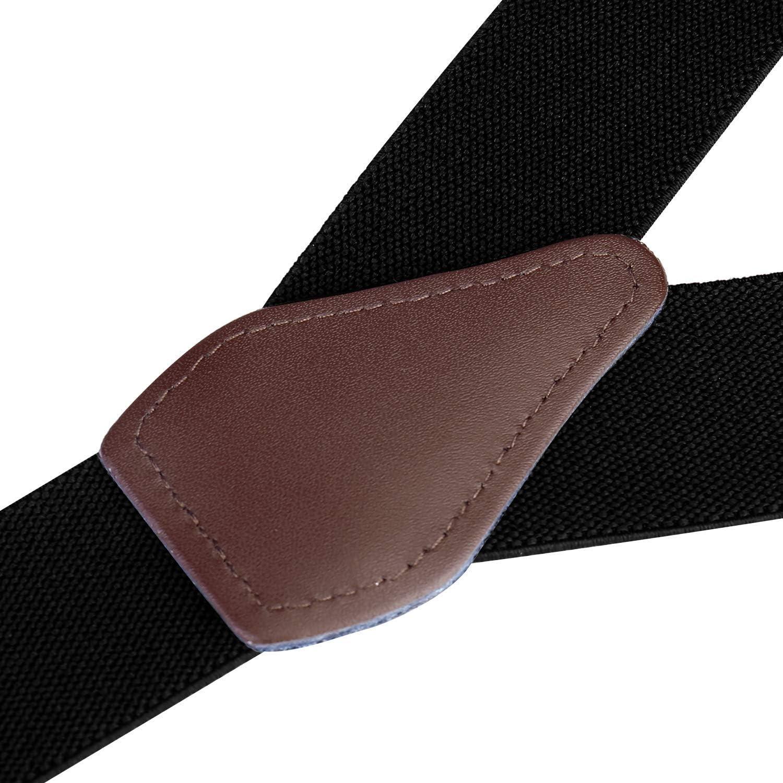 5123-White Buyless Fashion Mens Suspenders Elastic Adjustable 48 in Y Shape Heavy Duty 1 /¼