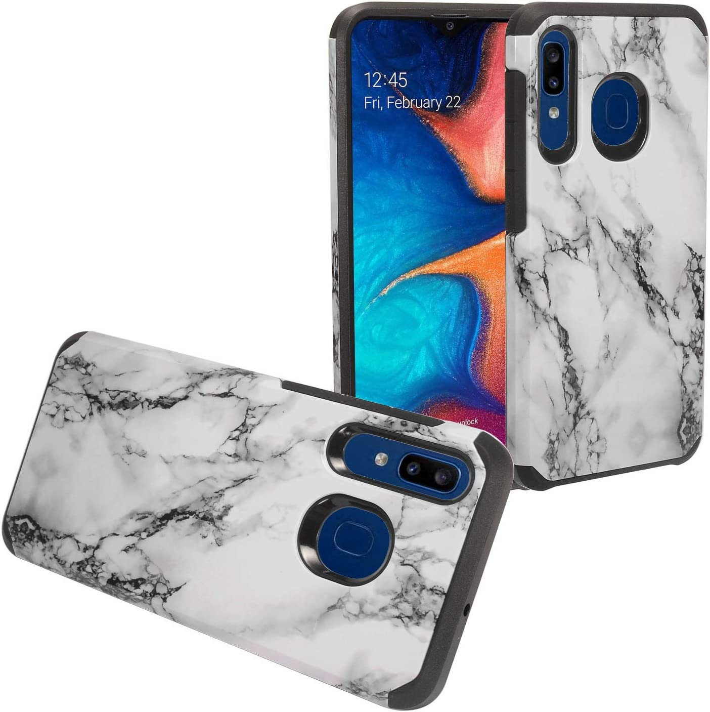 Amazon Com Compatible With Samsung Galaxy A20 Galaxy A50 Hybrid Image Phone Case Ad1 White Marble