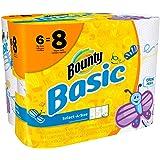 Basic Bounty Basic Select-A-Size Paper Towels, Spring Print, 6 Big Rolls = 8 Regular Rolls
