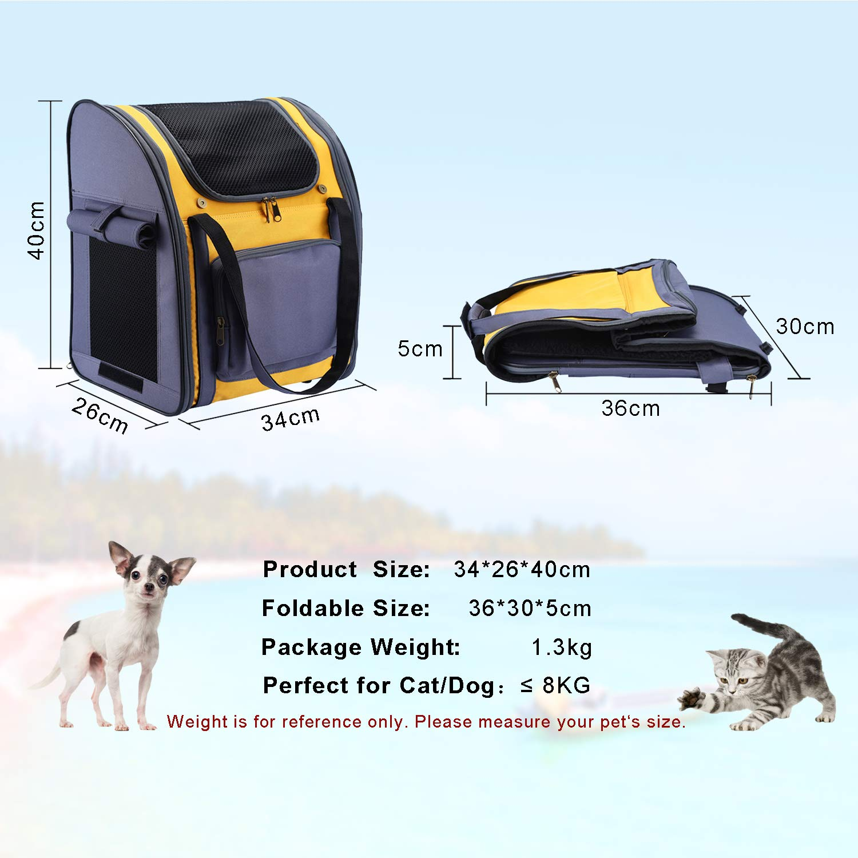 Mochila para Gatos Perros Cachorro Respirable Pet Backpack Plegable Impermeable Transportin para Peque/ño Mascotas Peso de hasta 8 kg para Viaje Transporte Avi/ón Auto