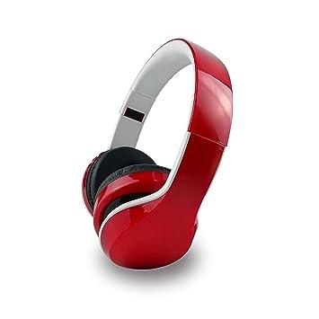 Bluetooth Deportes Auriculares, Auricular estéreo Bilateral Plegable Auriculares inalámbricos para PS4 Xbox One Ordenador portátil Mac Playstation 4,Red: ...