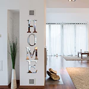 Zonon 3D Home Sign Acrylic Mirror Wall Decor Stickers Family Farmhouse Wall Stickers for Home Living Room Bedroom Decoration 46 x 10 Inch (Silver)