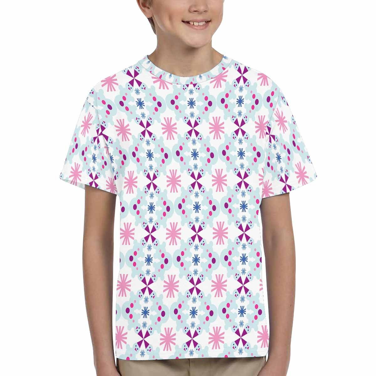 INTERESTPRINT Youth Crew Neck T-Shirt Christmas Snowman and Snowflakes XS-XL