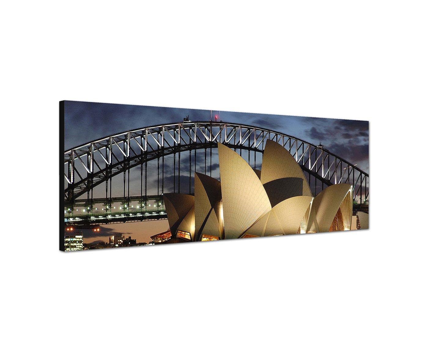 Pared Imagen sobre lienzo como panorámico en 150x 50cm Ópera Sydney Harbour Bridge noche