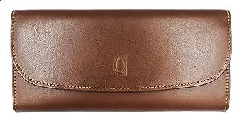 محفظة مستطيلة بثلاث طبقات وشعار محفور للنساء من الفا ليذر كو - تان