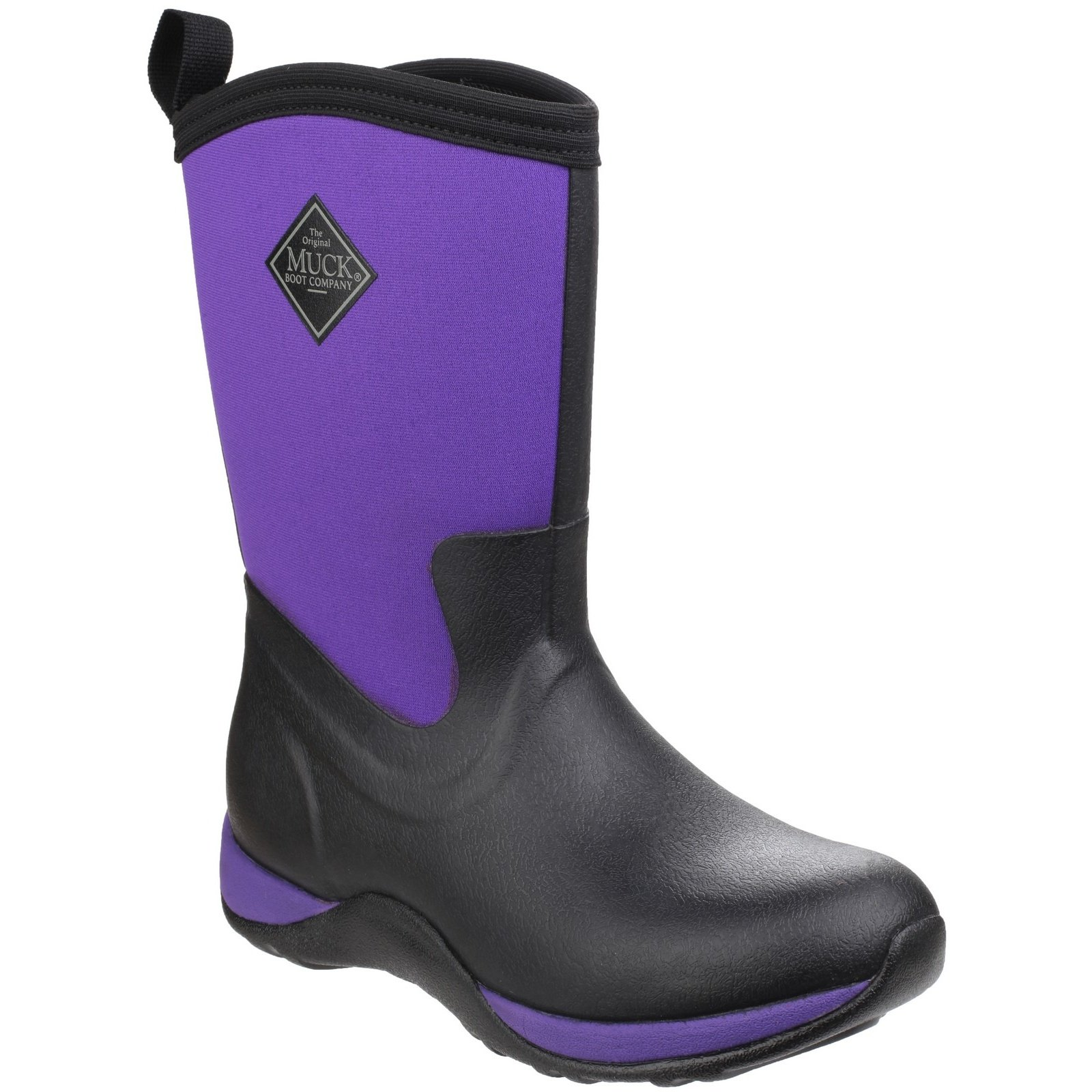 Muck Boot Unisex Arctic Weekend Pull on Wellington Boots (4 M US/5 W US) (Black/Purple)