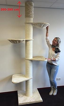 Rascador grandes gato XXL Maine Coon Tower Crema techo Altura 260 - 285 cm con 20 cm Diámetro Gatos (especialmente para gatos pesadas. Techo Alto.