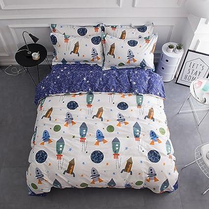 Famous Amazon.com: BuLuTu Space Rocket Print Cotton Boys Bedding Duvet  WD87