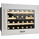Klarstein Vinsider 24D frigorifero per vini e bevande 24 bottiglie 3 ripiani in legno display LED autonomo funzionamento silenzioso illuminazione interna nero-argento