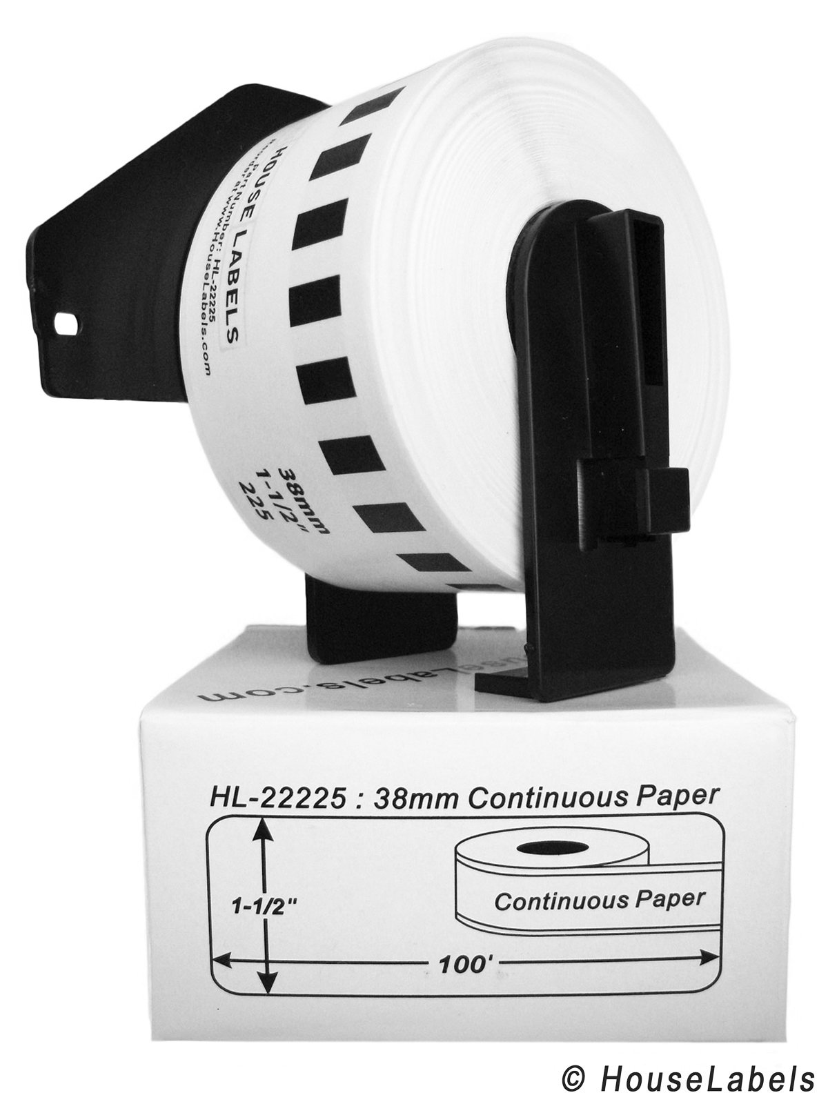 9 Rolls; Continuous Paper, BROTHER-Compatible DK-2225 Continuous Paper Labels with ONE (1) reusable cartridge (1-1/2'' x 100'; 38mm30.48m) -- BPA Free!