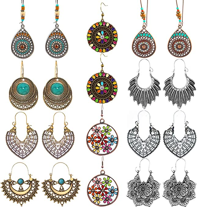 10Pc Fashion Exaggerate Round Wood Earrings Ear Hook Dangle Earrings Jewelry
