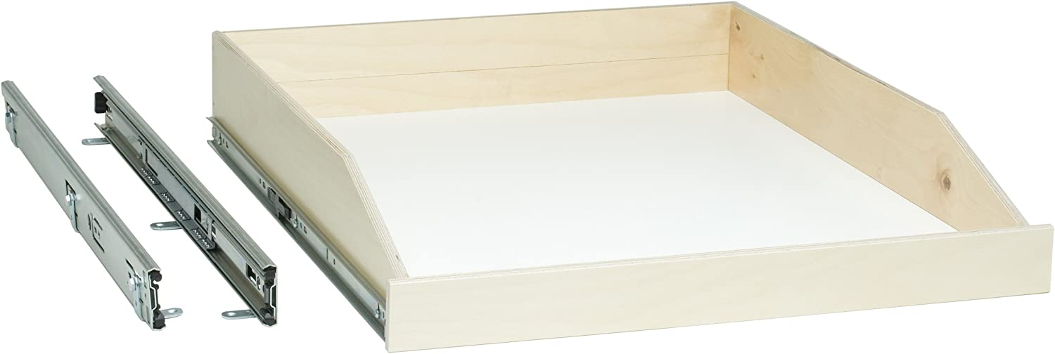Poly Urethane Clear Coated Birch Fronts 26 Width x 22-1//2 Depth Slide-A-Shelf Standard Slide-out Shelf with Full Extension Rails