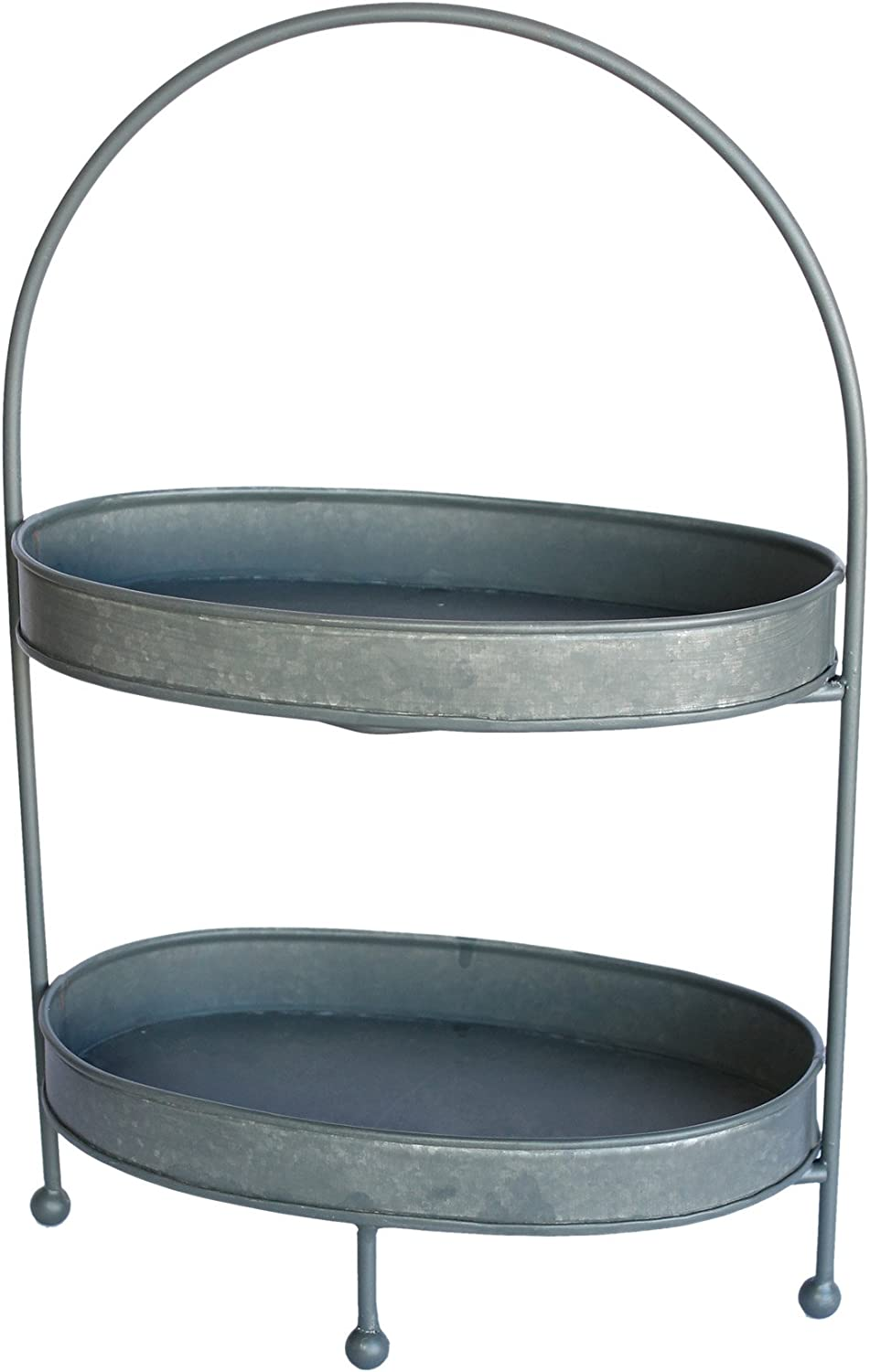 Colonial Tin Works Rustic Two Tier Oval Metal Tray