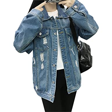 Henraly Women Vintage Long Sleeve Casual Basic Jeans Jackets Female Coat Chaquetas Mujer WICCON BlueS