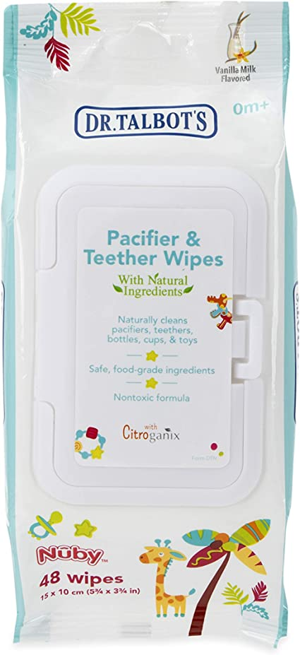 Nuby All Natural Pacifier and Teether Wipes Vanilla Milk 48 Count