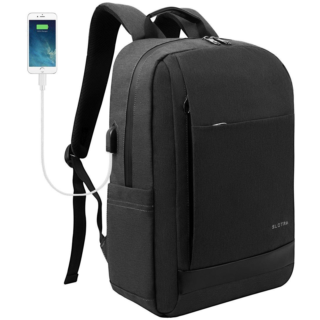 c90f5344ea Slotra Sac à dos pour ordinateur portable étanche Business Sac à dos avec  port de chargement USB ...