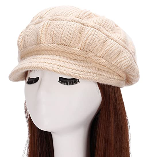 8ab95792e6af62 IL Caldo Womens Warm Winter Knit Thick Beanie Hats Plus Lining Cap Visor  Beret,Light