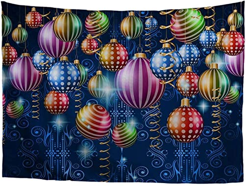 HUGS IDEA Wall Hanging Christmas Multicolor Balloon Printed Tapestry Art Handicraft Holiday Celebration Decor for Living Room Dorm Bedroom