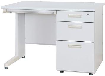 幅1000×奥行700mm OC-SD107K-WH 事務机 ホワイト スチールデスク オフィスデスク 届け先法人限定 オフィスコム 片袖机