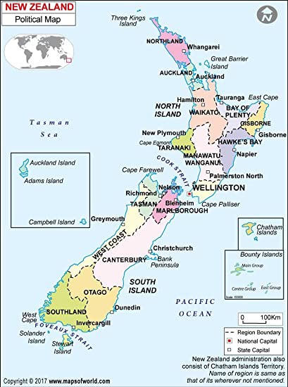 Political Map Of New Zealand.Amazon Com New Zealand Political Map 36 W X 48 88 H Office