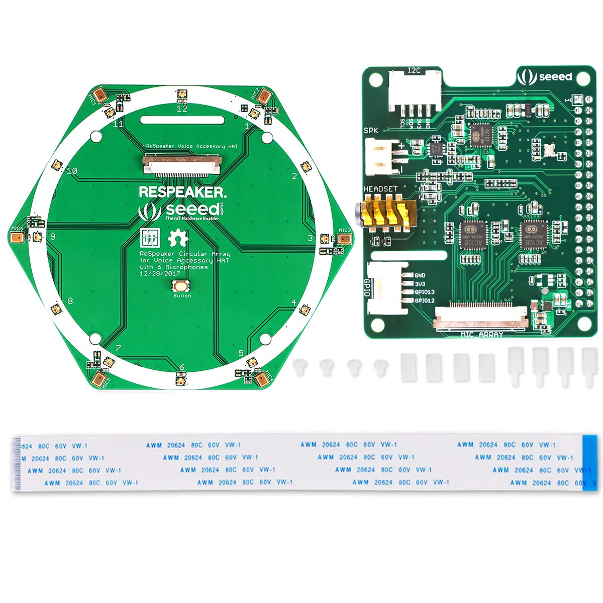 MakerHawk ReSpeaker 6-Mic Circular Array Kit Based on AC108 AD and AC101 DAC Chip for AI and Voice Applications and Raspberry Pi Zero/Zero/W/3B/2B/B+