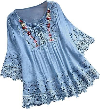 Riou Camisa de Manga Corta de Botón de Mujer Tallas Grandes Camisetas algodón de Encaje Manga Larga Camisas Verano Elegantes y Moda Casual Estampado Tops Invierno Primavera