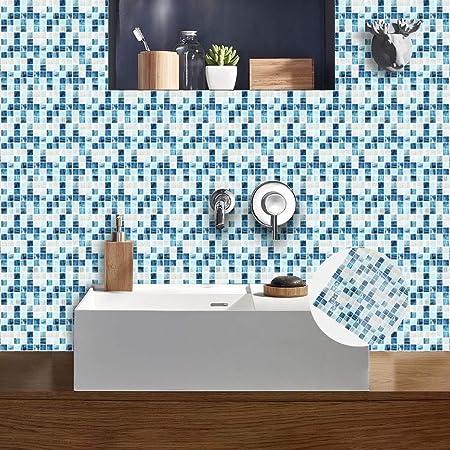 Adesivo per Piastrelle in Pellicola di Cristallo Mosaico Blu ...