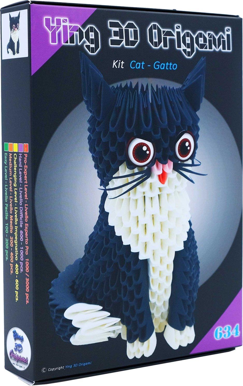 Origami 3d Kit Chat Cat 485 Pz Carton Pre Segnato Pour