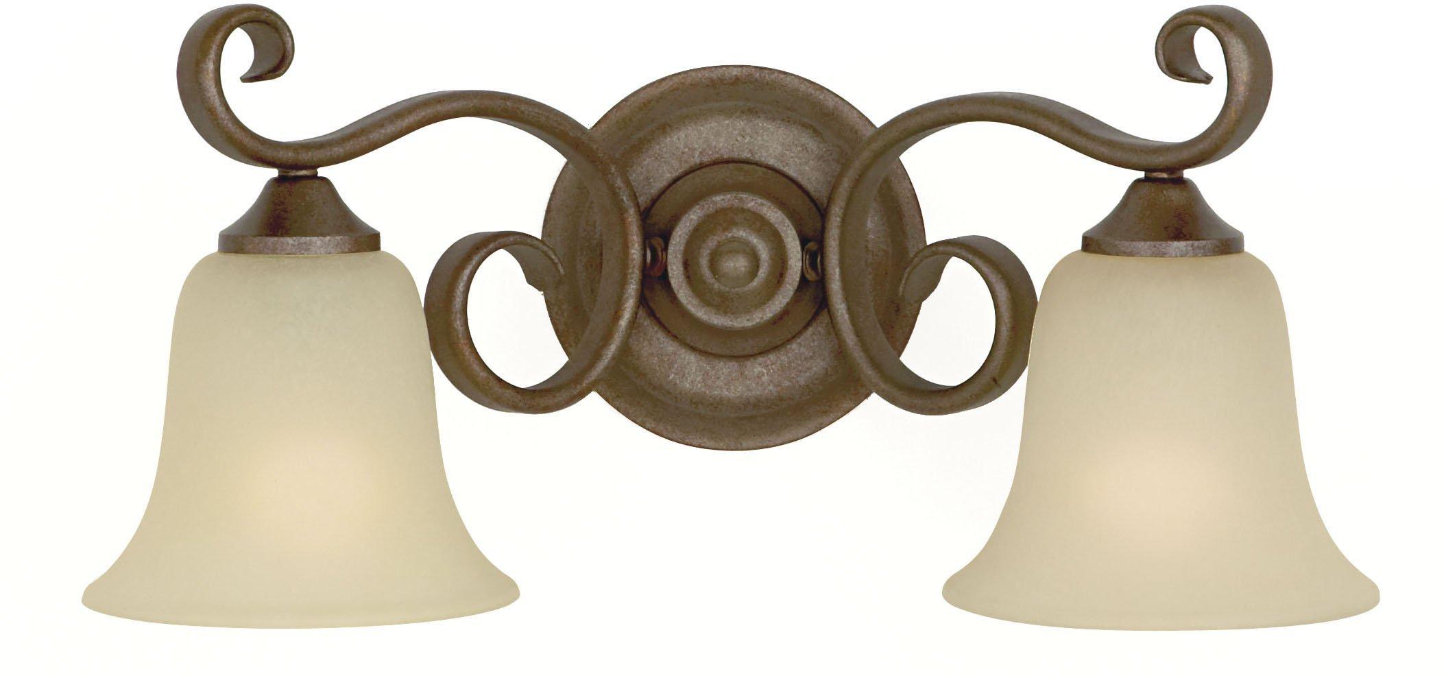 Murray Feiss VS10402-CB, Vista Vanity Fixture, 2 Light, 200 Watts, Corinthian Bronze with Cream Snow Glass Shades