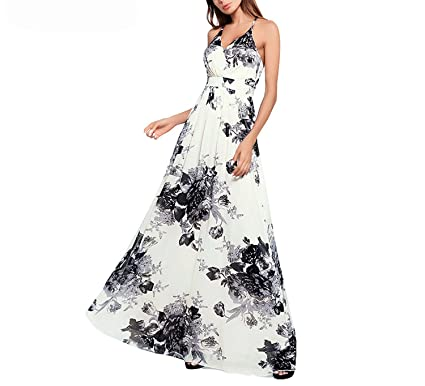 Women Maxi Boho Dress Summer V-Neck Strap Dress Vintage Print Chic Long Sundress Off