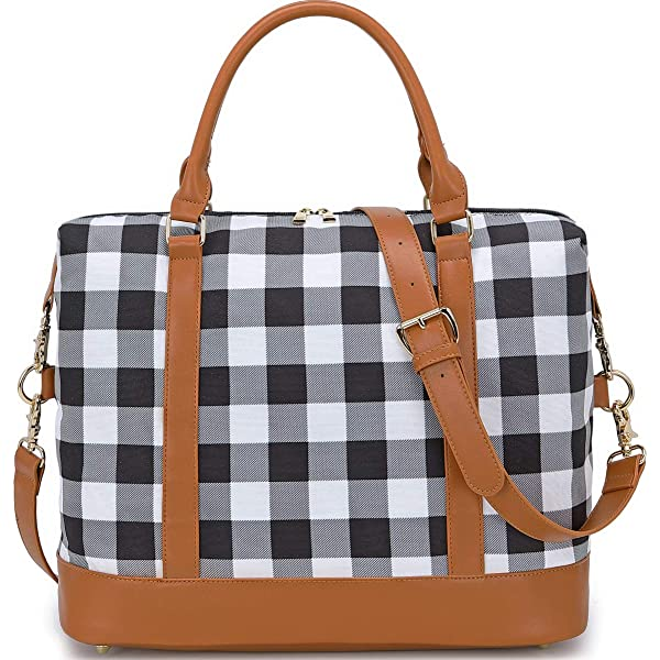 Purple And White Plaid Travel Carry-on Luggage Weekender Bag Overnight Tote Flight Duffel In Trolley Handle