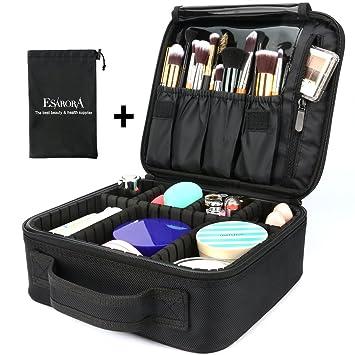 60ad1155e6c3 Makeup Bag, ESARORA Portable Travel Makeup Cosmetic Case Organizer Mini  Makeup Train Case (10...