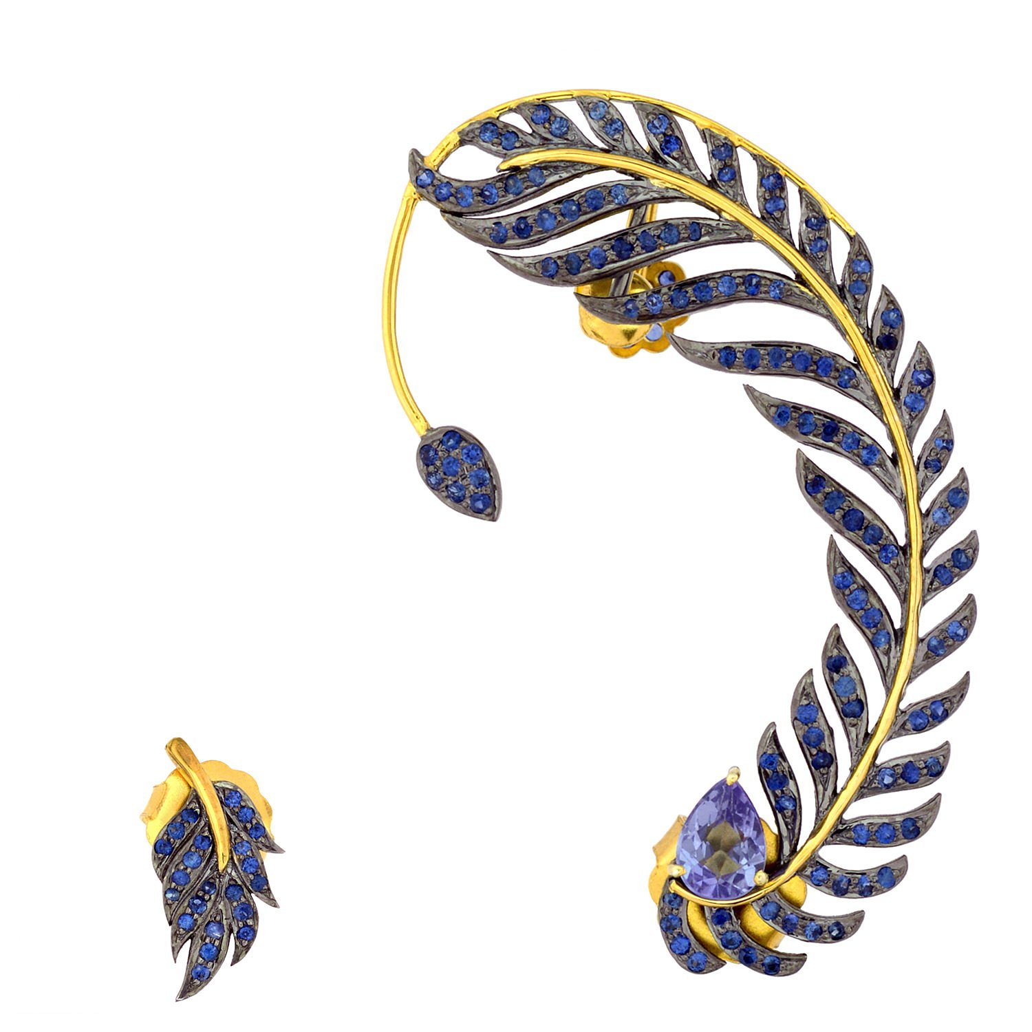 Blue Sapphire & Diamond Leaf Style Ear Crawler Cuff Climber Earrings in 18K Yellow Gold & Sterling Silver