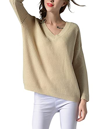 5b54797c87396e Choies Women s Beige Sexy V Neck Strap Back Rib Oversized Knit Sweater S