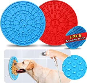 Dog Lick Mats, 2 Pack [Blue and Red] Slow Feeding Bite Proof Silicone Peanut Butter Treat Pads and Gift Grooming Brush – Pet Distraction & Training Device for Dog Bath (Medium Size 5.9 Inch)