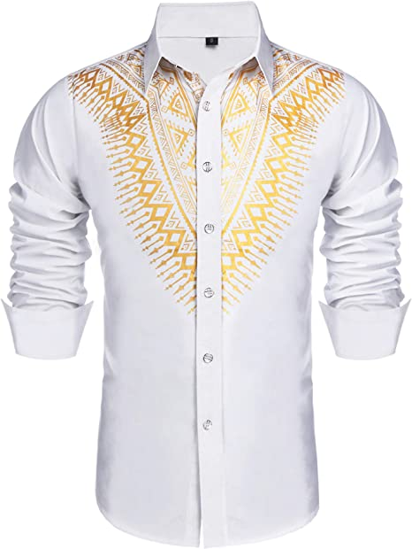Beloved Mens African Dashiki Print Shirt Long Sleeve Stand Up Collar Shirts Top