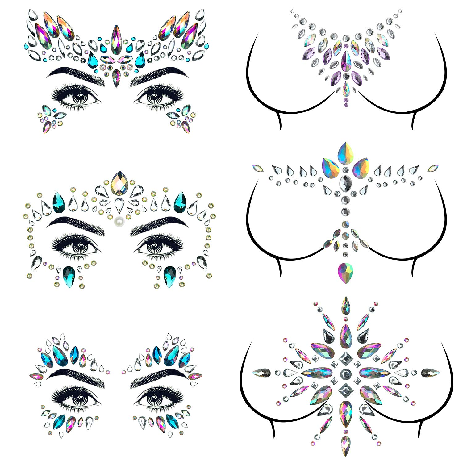 6 Sets Mermaid Face Jewels Gems Festival Face Rhinestone Eyes Breast Body Gems Tattoos Crystal Glitter Chest Forehead Face Diamond Stickers For Women Girls