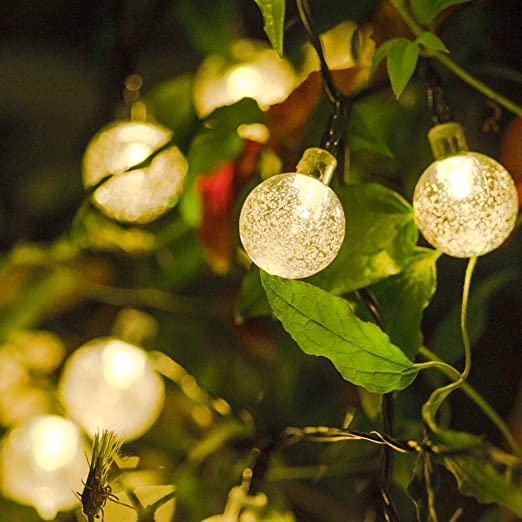 Crystal Ball String Lights Solar Powered Luxury 30 Led Warm White