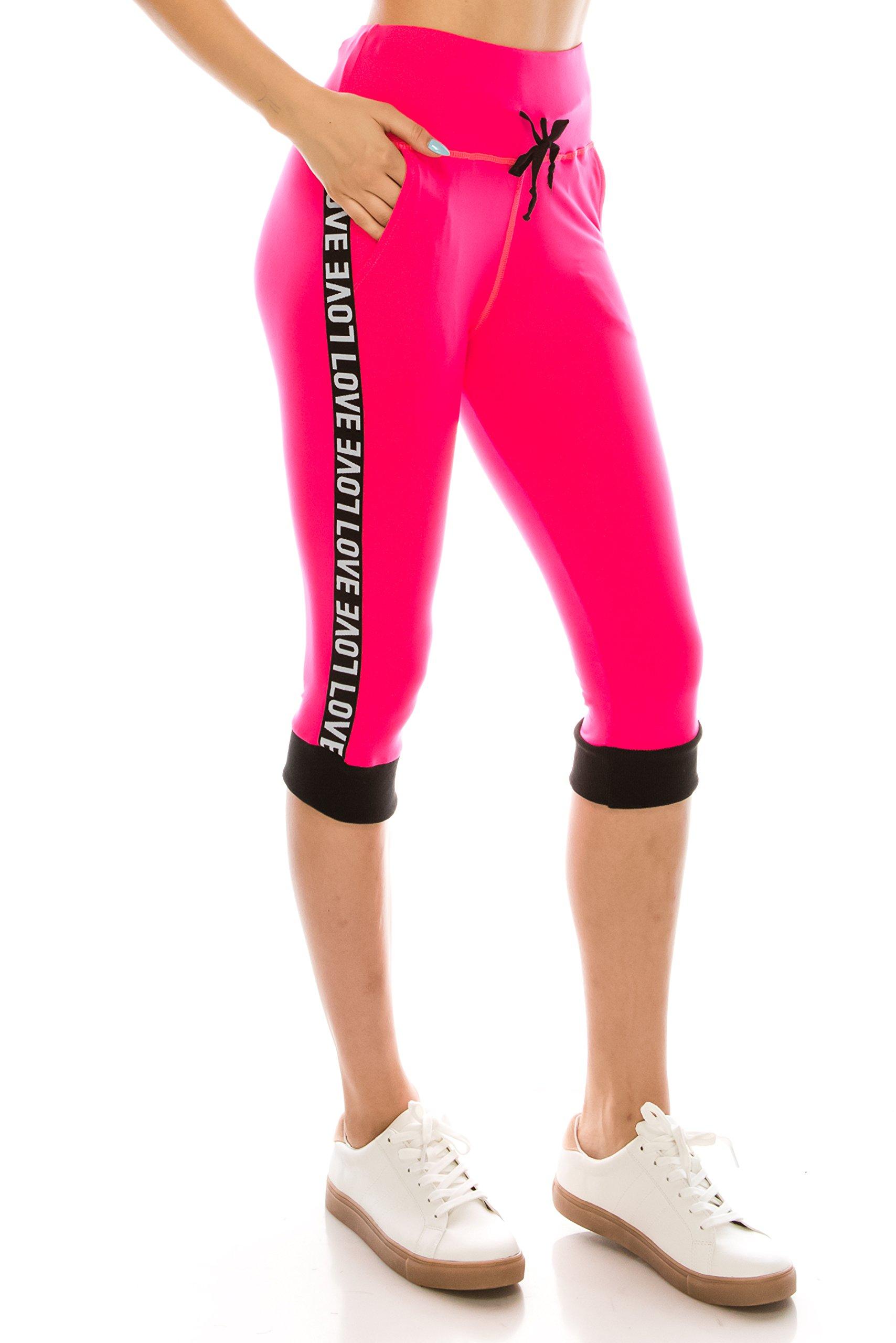 ALWAYS Women Drawstrings Jogger Sweatpants - Skinny Fit Premium Soft Stretch High-Waisted Capri Pockets Track Pants Neon Pink S/M