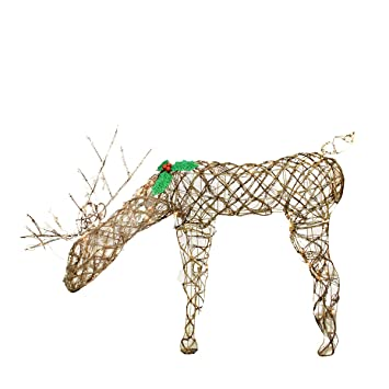 northlight seasonal feeding grapevine reindeer lighted christmas yard art decoration with clear lights 29