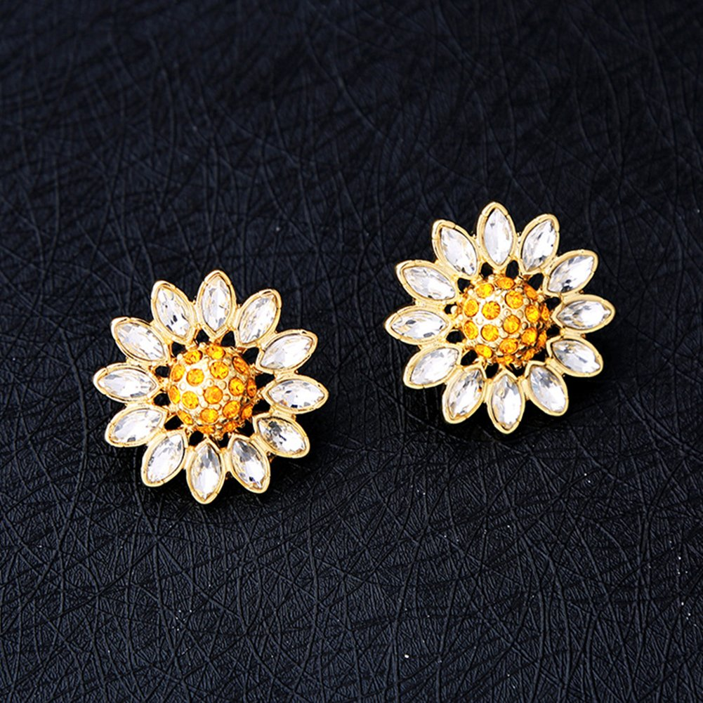 Daisy Flower Alloy Stud Earrings with Crystal for Woman and Girl