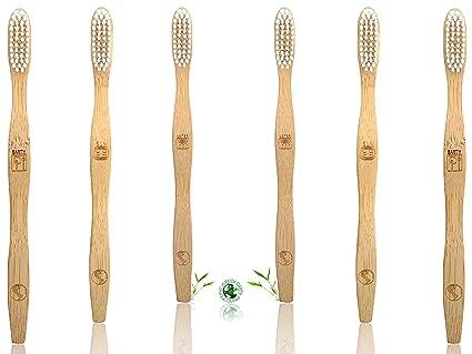 Cepillo de dientes de bambú orgánico ecológico, biodegradable y natural, con cerdas blancas de